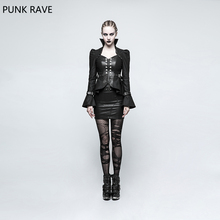 PUNK RAVE Novelty Women Casual Gothic Steampunk Trumpet Sleeve Short Jacket Rock Cosplay Female coats