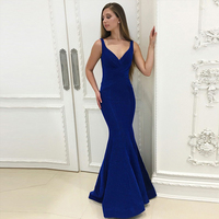 Bbonlinedress Sexy Mermaid Velvet Evening Dress Lace Up Evening Gowns Floor Length Royal Blue Velvet Prom Dress 2019