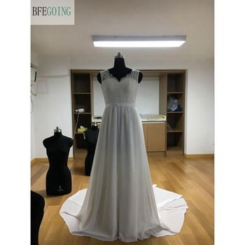 White Lace Satin Chiffon  V-Neck  A-line Wedding dresses  Chapel Train Sleeveless Bridal Gown Custom made