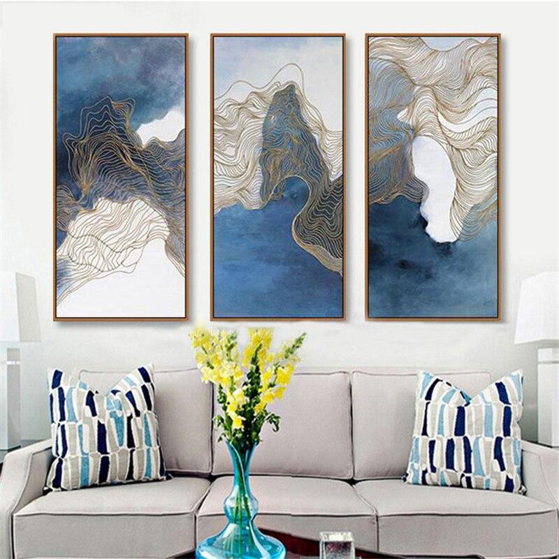 1006 40 De Réductionsimple Nordique Mix Bleu Couleur Dessin Mural Abstrait Lignes Dor Toile Art Affiche Papier Mural Créatif Pour Salon étude