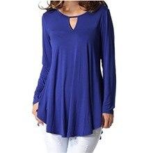 Женская блузка, блуза с вырезом, Женская Повседневная однотонная блуза с длинным рукавом и круглым вырезом, свободная Длинная Женская туника, блузы, топы, рубашки, 5XL Blusas Mujer