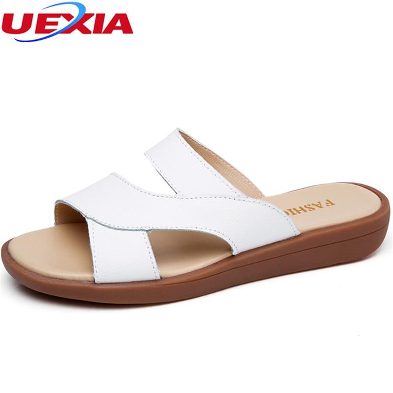 UEXIA New Summer Flats Heel Slipper Women Slippers Slides Women Slippers Word Hollow out Women Single Sandals Non-slip Fashion