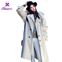 Новый корейский Плюс Размеры ветровка Осенне зимнее пальто женская одежда замши Твердые Цвет поддельные из двух частей комплект длинный пл