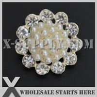 DHL Free Shipping Round Metal Rhinestone Pearl Button with Shank for Wedding Invitation,Clothing,Flower Centers X7-MB1269