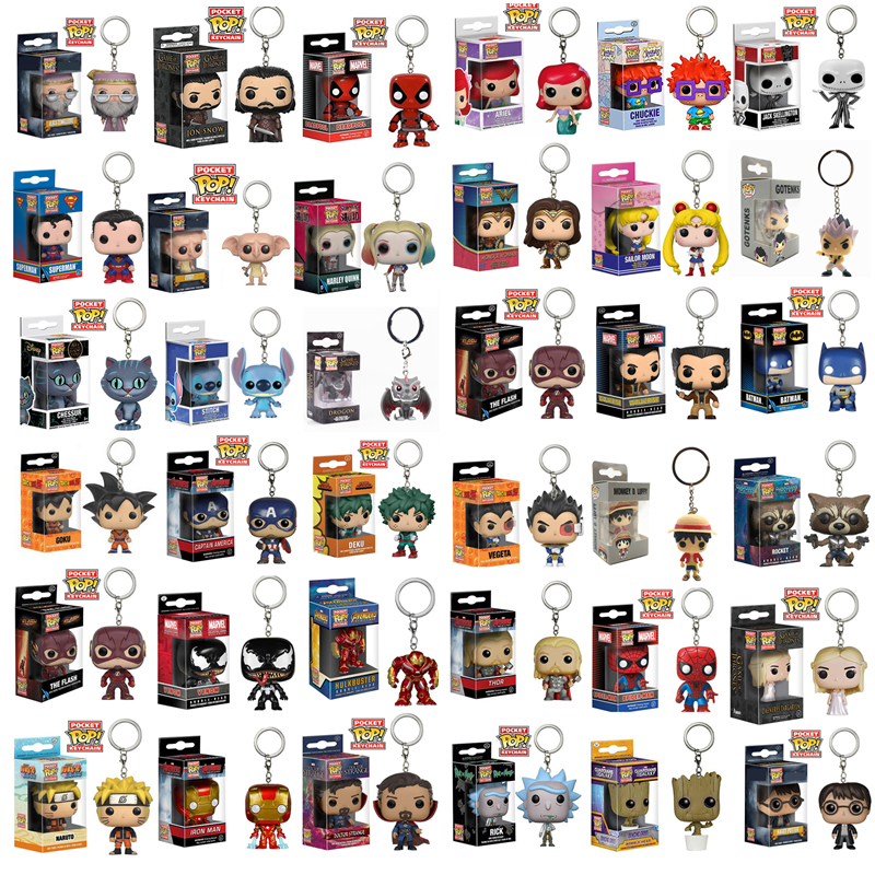 FUNKO POP New Arrival Pocket Pop Keychain Original Movie Anime Hero Characters Action Figures Collectible Model Toys For Gifts