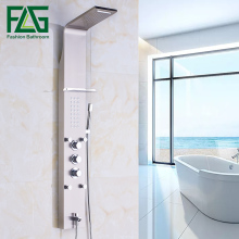 European Luxury SUS Nickel Brushed Wall Mounted Bathroom Rain Waterfall Shower Panel With Hand Sprayer Thermostatic Shower Set