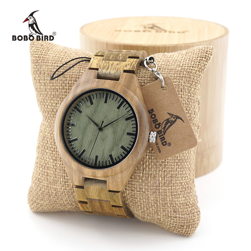 BOBO BIRD Mens Unique Verawood Wooden Watches Green Dial Wrist Watches With Wood Links In Gift Watch Box