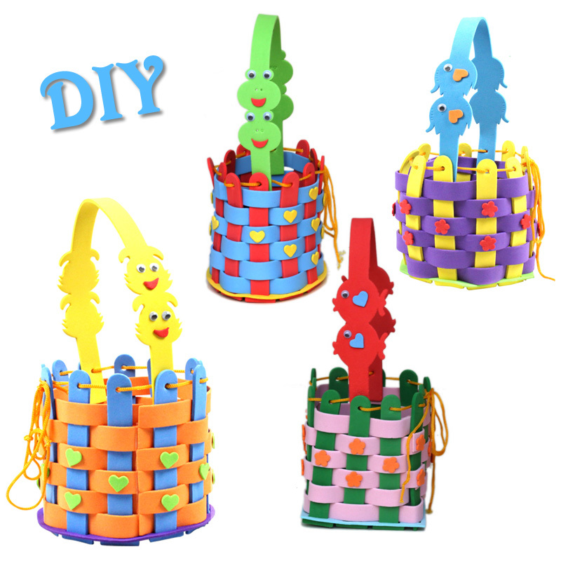 Us 7 3 18 Off 4 Patterns Children Diy Handmade Eva Knitted Basket Toys Kids Cartoon 3d Puzzle Eva Sticker Productions For Educational Toys In