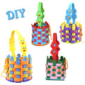 4 patterns Children  DIY handmade Eva knitted basket toys/ Kids cartoon 3D puzzle EVA  sticker productions for educational toys