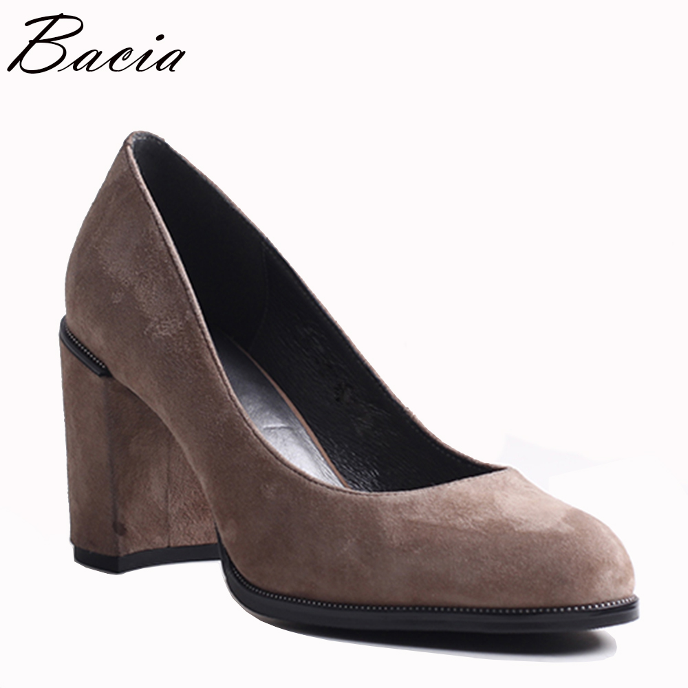 Bacia Fashion Quality Sheep Suede Thick High Heels Round Toe Pumps Shoe Heel Women Sexy Genuine Leather Shoes Size36-40 VXB027 donna in pumps women black genuine leather high heels platform round toe thick heel women shoes new fashion sexy ladies pumps