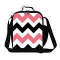 Reversible Pink Chevron thermal lunch bag for children school,geographic vector design cushion,insulated food bags for girls