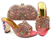 Peach Color Italian Shoes and Bags To Match Shoes with Bag Set Bag and Shoes Set Italy African Shoes and Matching Bags Italian