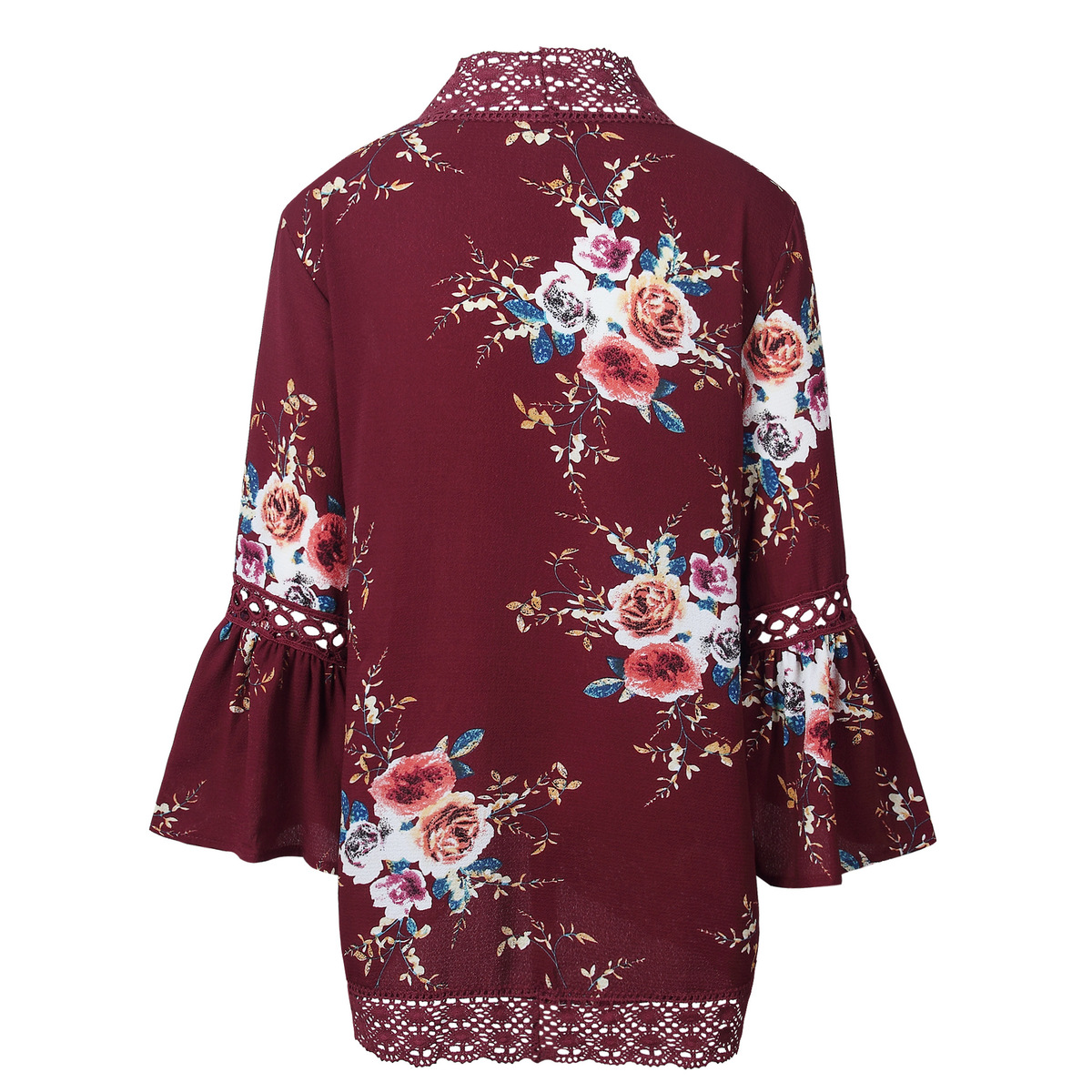 HTB1kWr.kIIrBKNjSZK9q6ygoVXaz Women Plus Size Loose Casual Basic Jackets Female 2018 Autumn Long Flare Sleeve Floral Print Outwear Coat Open Stitch Clothing