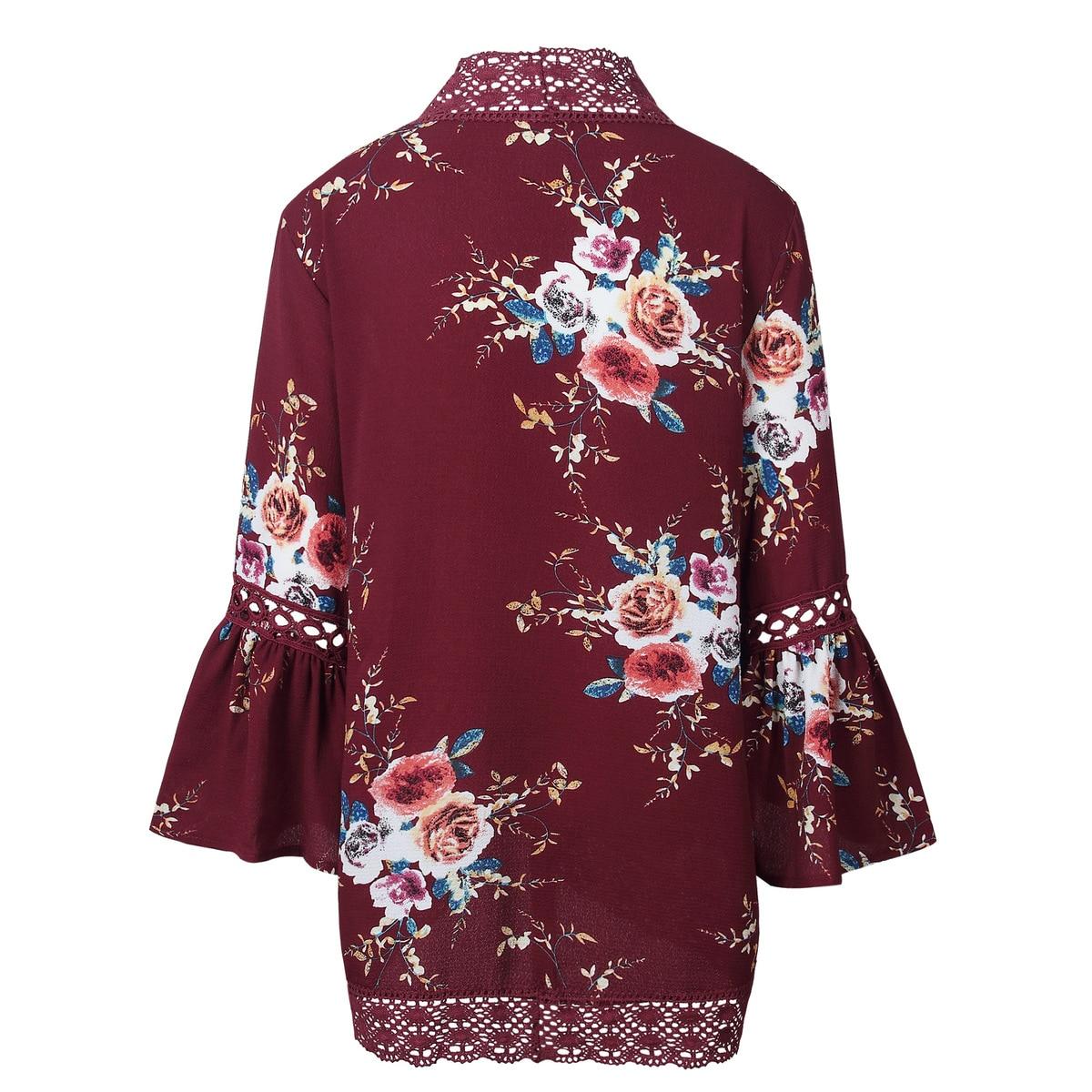 HTB1kWr.kIIrBKNjSZK9q6ygoVXaz Women Plus Size Loose Casual Basic Jackets Female 2018 Autumn Long Flare Sleeve Floral Print Outwear Coat Open Stitch Clothing