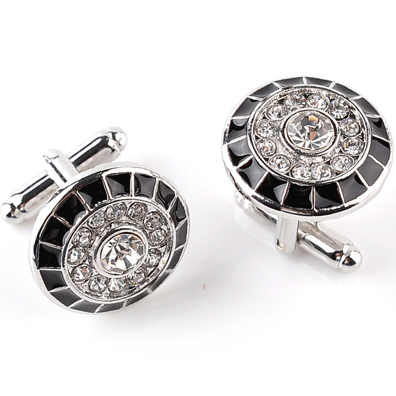 Hot Sale New Fashion French Cufflinks Men Shirts Rhinestone Cufflinks Fashion Round Cufflink For Men Christmas Gift