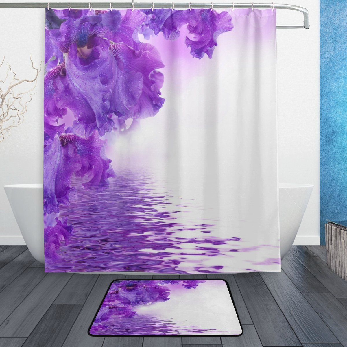 Purple Flower Shower Curtain and Mat Set, Floral Irises Waterproof Fabric Bathroom Curtain