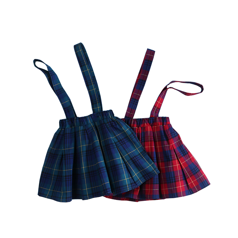 2017 Kids Skirts For Baby Girl Summer Fall Plaid Skirt Toddler Girl Suspender Pleated Skirts England Style Child School Clothes