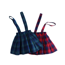 2018 Kids Skirts For Baby Girl Summer Fall Plaid Skirt Toddler Girl Suspender Pleated Skirts England Style Child School Clothes