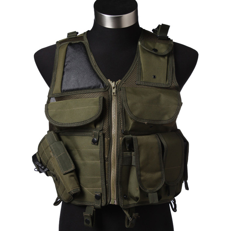 Tactical Military Vest Combat Hunting Vest Outdoor Molle Armor Airsoft Assault Shooting Camouflage Vest With Gun Holster tactical military vest combat hunting vest outdoor molle armor airsoft assault shooting camouflage vest with gun holster
