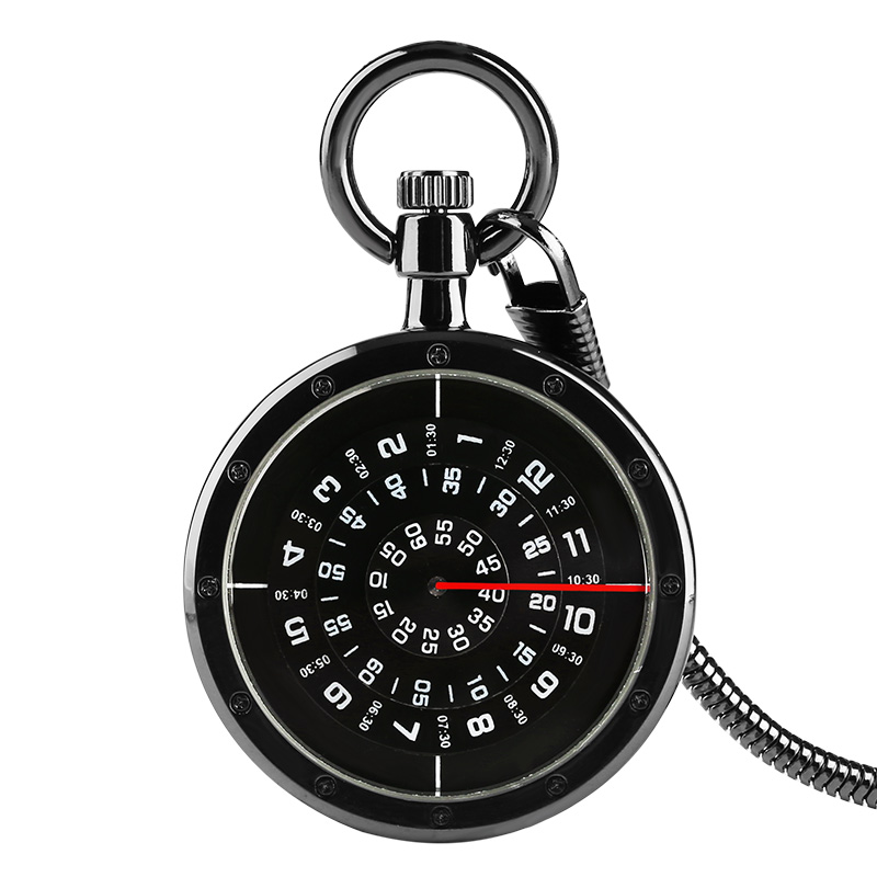 Black Smooth Quartz Pocket Watch Stainless Steel Case Pendant Watches White Shinning Clock Necklace Chain Reloj De Bolsillo
