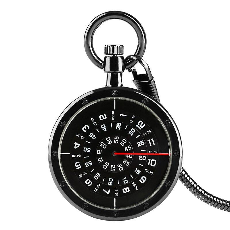 Unisex Black Smooth Stainless Steel Case White Arabic Roman Numerals Fashion Shinning Case Modern Necklace Chain Pocket Watch