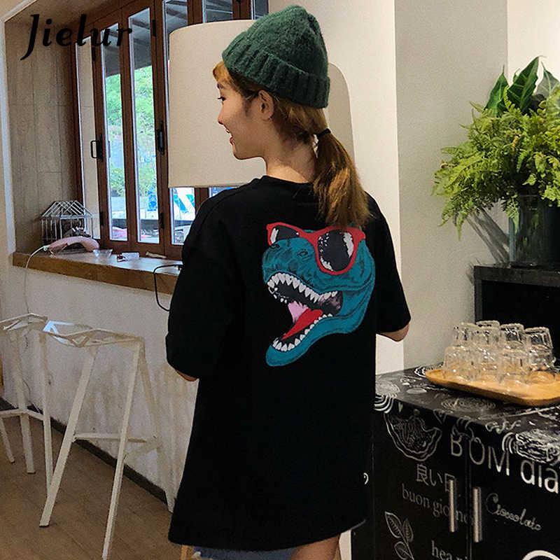 Jielur шикарно Футболка с принтом динозавра для женщин забавная Новинка обувь для девочек черный белый цвет футболки Kpop Досуг Личность Топы
