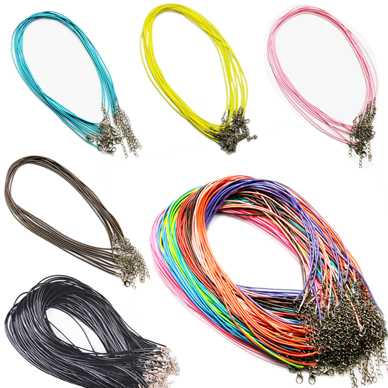 10 PCS/lot 1.5 mm Leather Chains Necklaces Bracelet Pendant Charms With Lobster Clasp DIY Jewelry Findings String Cord Necklace