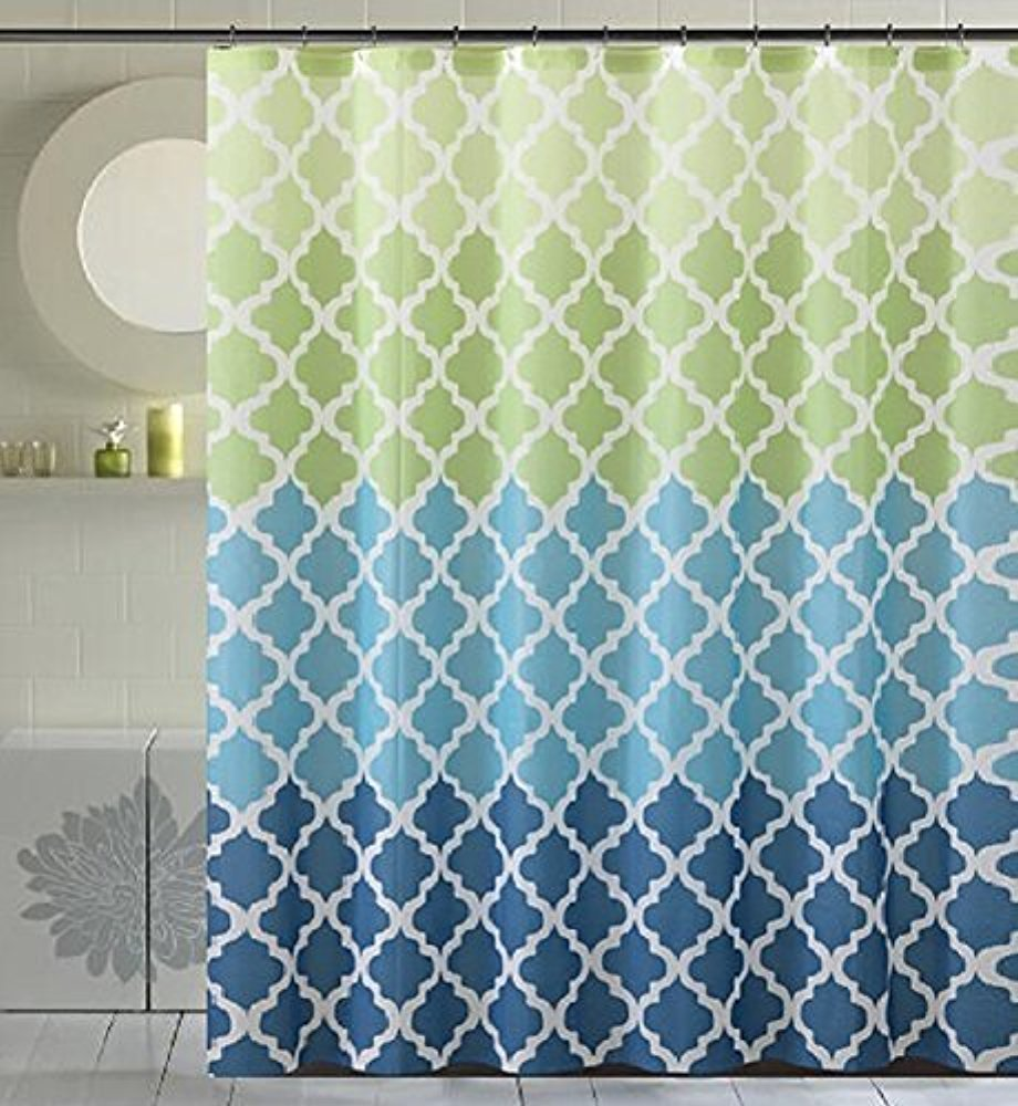 Blue and green striped shower curtain - Memory Home Geometric Patterns And Quatrefoil Design And Colors Bathroom Waterproof Polyester Fabric Striped Shower Curtain