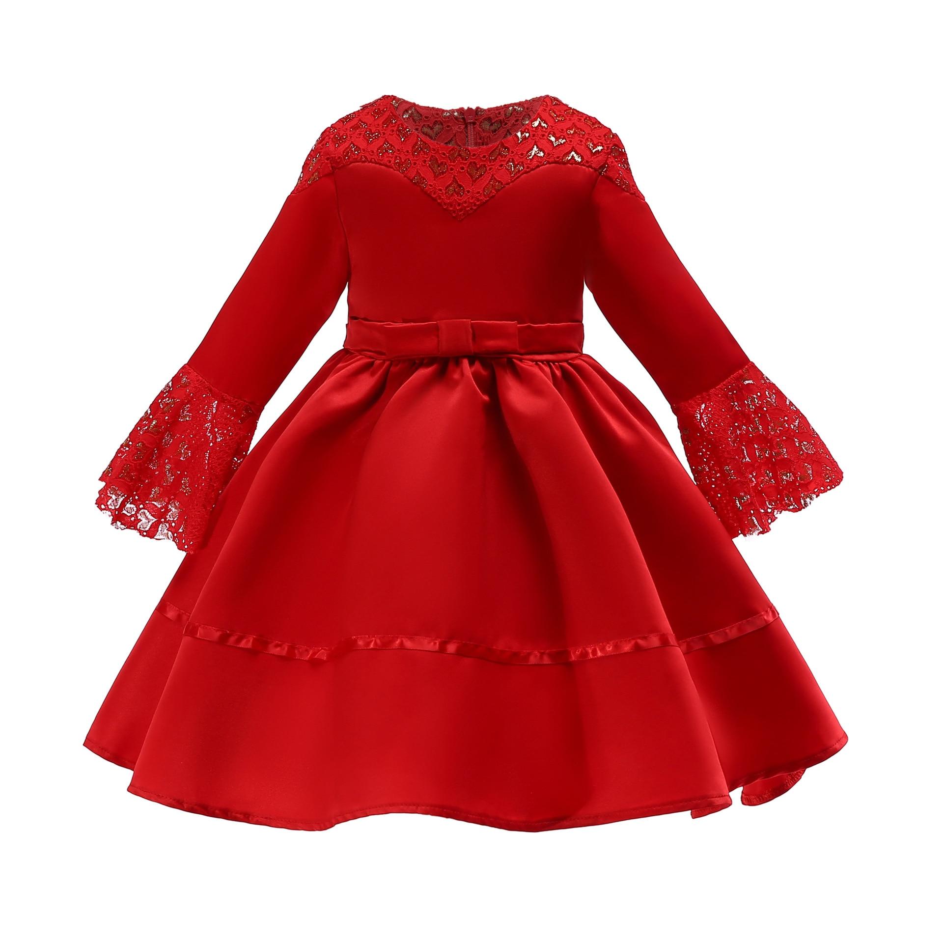 Muslim Girls' Skirts New 2019 Children's Dresses Medium Sleeves Lace  Dress Kids Princess Dress Girls Skirt Muslim Kids Dress