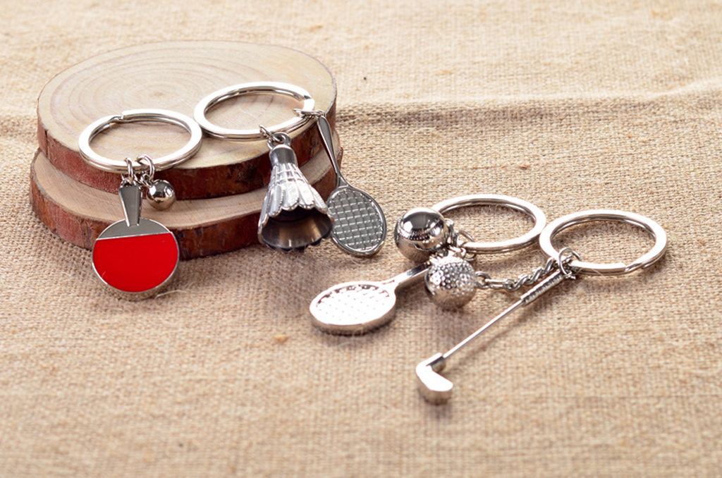 Mini 3D Golf Club and Ball Pendant Sport Keyring Key Chain Kids Gift Silver