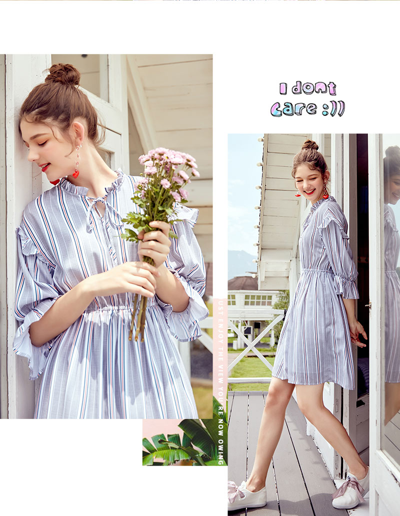 SEMIR women dress female 2018 autumn new retro striped dress loose thin dresses long flare sleeves clothing for woman 40