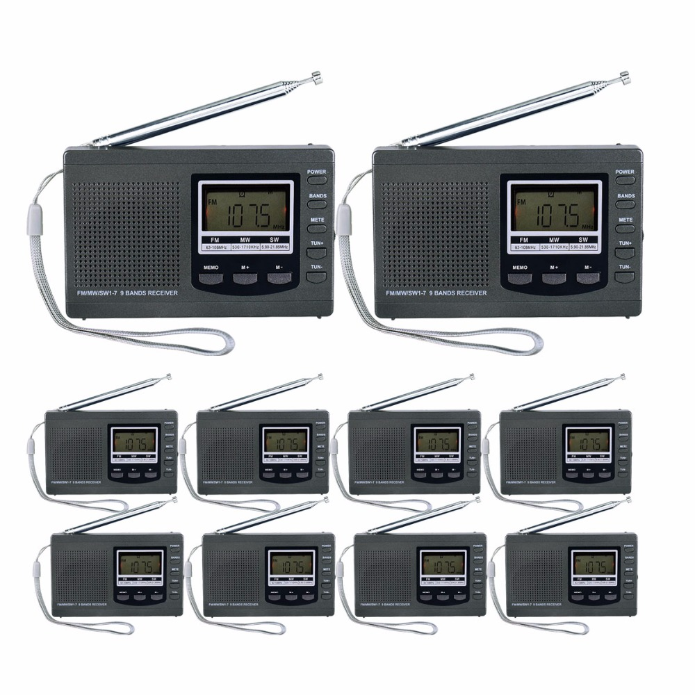10 pcs Pocket Radio 9K Portable DSP FM/MW/SW Receiver Emergency Radio Digital Alarm Clock Automatic Search Radio Station Y4408H 100pcs pr13 dsp portable fm radio receiver pocket radio for large meeting simultaneous interpretation with earphone f9213
