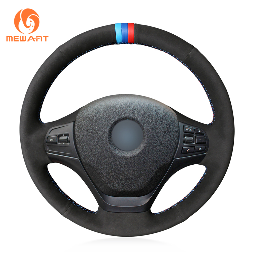 MEWANT Hand Sew Wrap Fashion Product Comfortable Genuine Leather Black Suede Car Steering Wheel Cover for