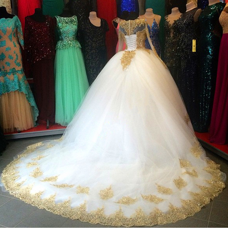 Luxury Ball Gown White and Gold Wedding Dresses Long Sleeve Beaded ...