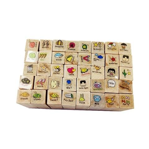 4 jogos lote bonito mao pintado carimbo de madeira adoravel diario padrao de borracha selos
