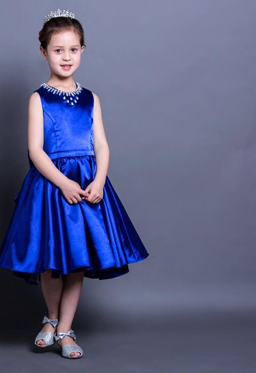 royal blue short little girls dress for weddings beaded