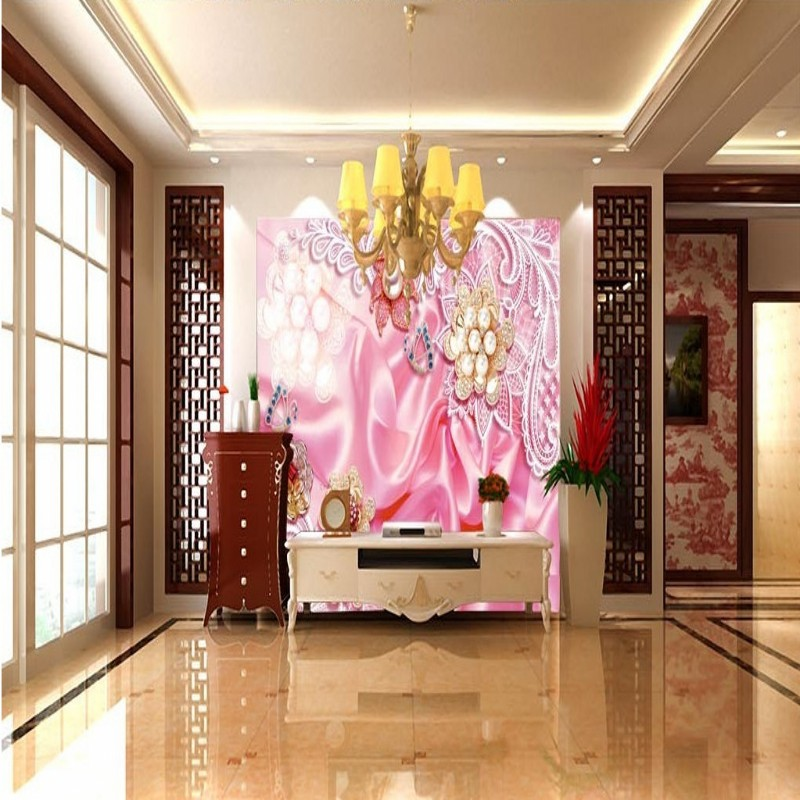 Copyright picture 3d luxury European silk pearl flower living room ...