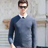 6 Colors thread sweater pullover men cotton spandex knit O neck long sleeve jumper men pullover large size 3XL Brand sweater