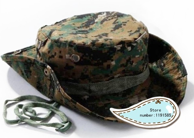 Military Army Round-brimmed Hat Sun Boonie Hat Cap for Fishing Hiking digital  woodland camo 6949a909249b