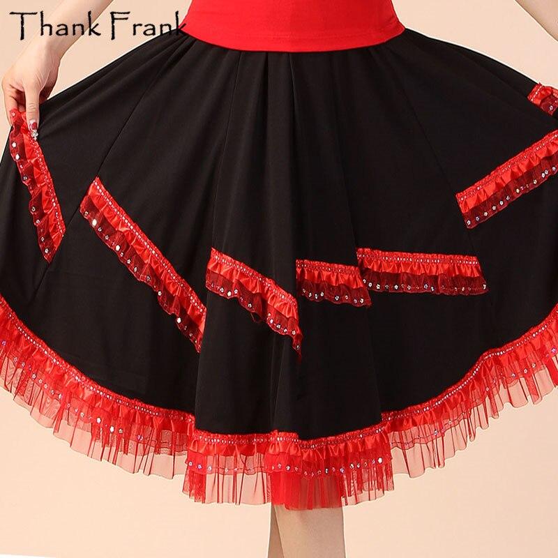 Discount Women Sequin Skirt Adult Red Rose Red Latin Skirts Classic Ballroom Dance Dress Fashionable Elastic Dance Wear SK18