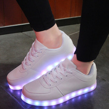 Size 35-44// USB Charging PU Kids Light Up Shoes Led Slippers Glowing Luminous Sneakers White/black Girls Shoes