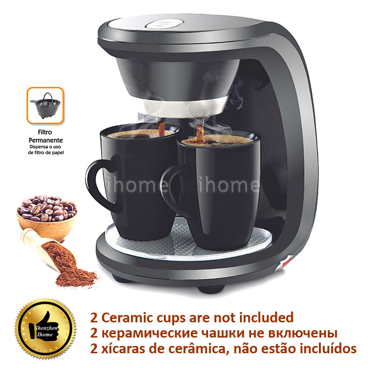 High Quality 2 Cups Black Color Coffee Machine American or Nescafe Drip Coffee Maker Machine Home Kitchen DIY Cafe Device