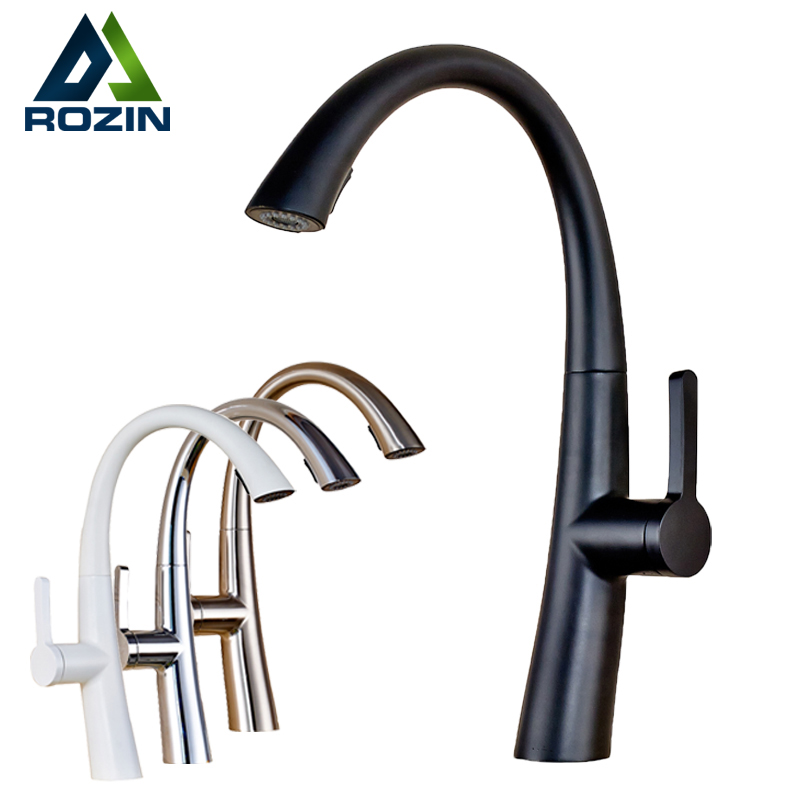 White Pull Out Spring Kitchen Faucet Bathroom Vessel Sink Mixer Tap Deck Mounted Swivel Spout Stream Sprayer Shower Mixer Tap chrome finished pull out spring kitchen faucet deck mount swivel spout vessel sink mixer tap dual sprayer