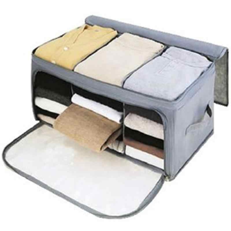 Bamboo Charcoal Clothes Storage Bag Zipper Handles Quilt Bedding Garment Storage Bag Organizer Holder Clothes Containers