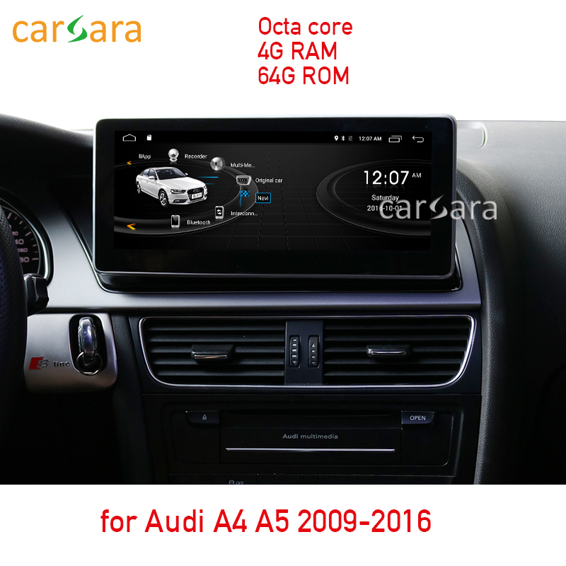 4G RAM 64G ROM Android display for Audi A4 A5 2009 2016 10.25 touch screen GPS Navigation radio stereo dash multimedia player