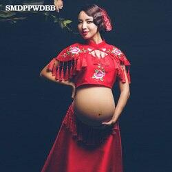Smdppwdbb rode geborduurde dress zwangerschap fotoshoot strand dress moederschap lange dress zwangere fotografie props fancy kleding