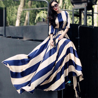 2019 European and American  Fashion Striped long Chiffon Dress large Tow Dress large Size  Dress S-3XL