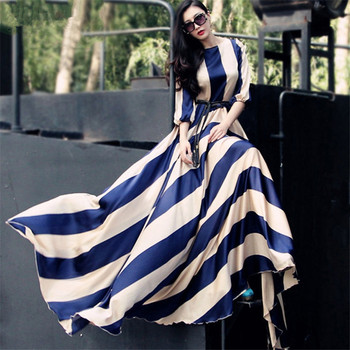 2019 European and American  Fashion Striped long Chiffon Dress large Tow Dress large Size  Dress S-3XL babyonline dress 045g s
