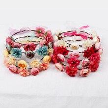 Hair Accessories Bohemian Flower Headband for Women Rose Floral Crown Wreath Girls Head Bands Summer Beach Adjustable Hair Bands
