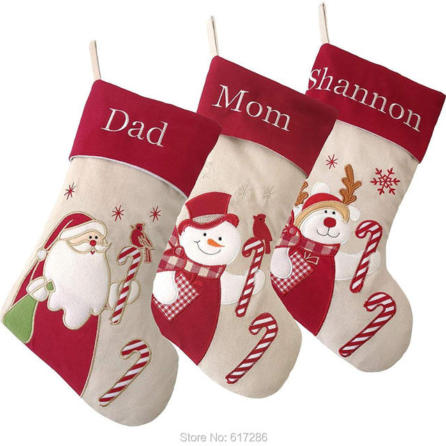 Us 95 0 Personalized Christmas Stockings Customlized Name Embroidered 3pcs Lot Christmas Gifts For Family Size 18 In Stockings Gift Holders From